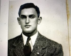 "Melvin Brooks, a Russian-Jewish immigrant who fled to the U.S. through Lithuania in 1938. When he registered as an alien in 1940, he was a clerk in a dry goods store in Warsaw, a small town in Dublin County, N.C. He had apparently ""Americanized his name"": according to his registration documents, his birth name was Michelis Brukas. Courtesy, North Carolina Digital Collection."