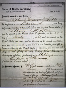 Statement o intent to become a U.S. citizen, John Frederick Soll, a blacksmith in Wilmington, N.C., 1874. He emigrated from Germany in 1866. Courtesy, North Carolina Digital Library