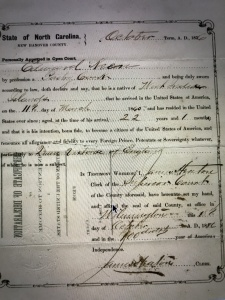 Statement of Intent for U.S. citizenship for Edward Keen, Wilmington, N.C., 1876. He was a pastry cook from the West Indies. As the state's only major seaport, Wilmington was by far the largest center of immigration in eastern N.C. between 1840 and 1910. The largest number of the city's immigrants were probably German, but other immigrants came to Wilmington from Russia, Great Britain, Denmark, Turkey, Norway, Syria, Sweden, Germany, Switzerland, Italy, France, Portugal, Poland and Austria. Courtesy, North Carolina Digital Collections
