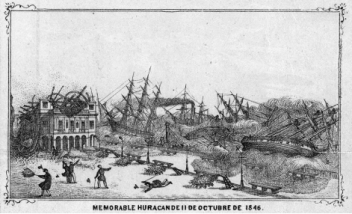 "The 1846 hurricane was one of the hemisphere's most powerful tropical cyclones in the 19th century. Though the storm transformed many communities and whole ecosystems on the N.C. coast, the worst damage and loss of life was in Cuba. From ""Mapa Historico Pintoresco Moderno de la Isla de Cuba"" (Hamburg: 1853)."