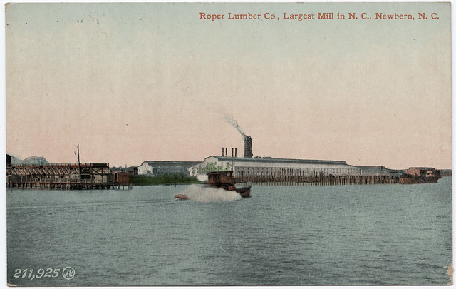 Postcard of the Roper Lumber Co.'s mill, New Bern, N.C., ca. 1910. Courtesy, N.C. Collection, Wilson Special Collections Library, UNC-Chapel Hill