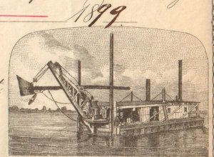 Detail of an American Dredging Co. stock certificate showing a dredge boat at work, 1899.