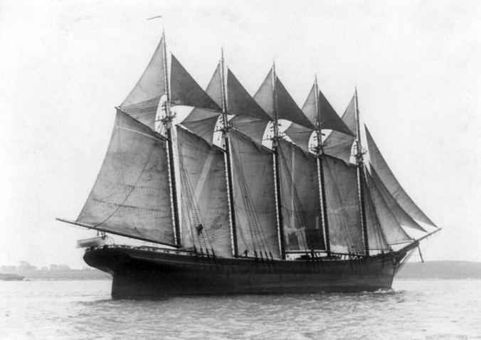 The Governor Ames was a good example of a lumber schooner, though her 5 masts was far from typical. On a voyage from Brunswick, Ga., to New York City in 1909, she wrecked off Cape Hatteras, all hands but one lost. From classicsailboats.org