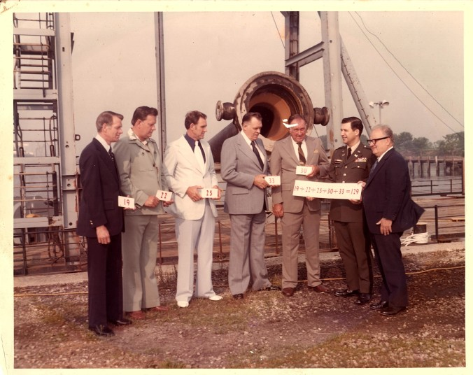 "The Ocracoke Midgette brothers, Philadelphia, ca. 1985. Standing left to right: Carnelle, Elmer Gray, John (""Johnny Boy""), Ellis and Jesse. The brothers were recognized for a combined 129 years of service to the U.S. Army Corps of Engineers. Photo from Joyce Spencer, their sister, and shared with me by Philip Howard"