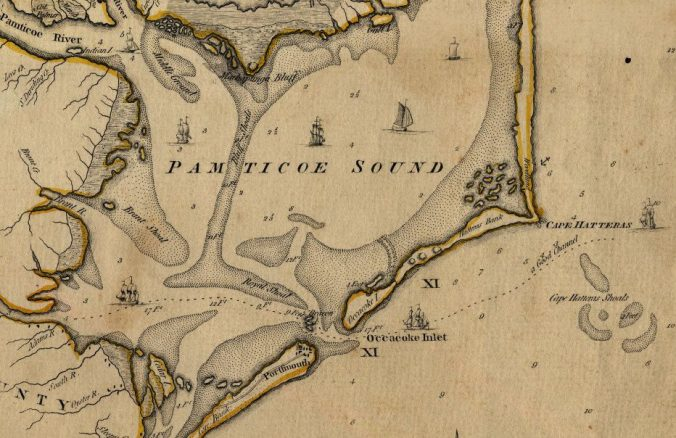 "Ocracoke and vicinity, ca. 1775. Detail from Henry Mouzon and others, ""An Accurate Map of North and South Carolina With Their Indian Frontiers...."" Courtesy, State Archives of North Carolina"
