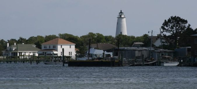 View of Ocracoke Lighthouse and Silver Lake, Ocracoke, N.C. Courtesy, Wikicommons