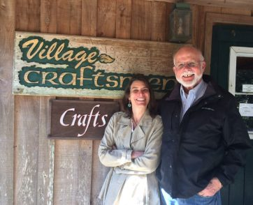 Philip Howard, the owner, and his daughter Amy Howard, the manager, at the Village Craftsmen, Ocracoke, N.C. Specializing in fine quality American handcrafts, the shop is celebrating its 50th anniversary this year. Photo courtesy of Philip Howard and the Village Craftsmen