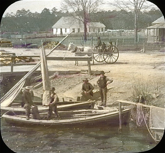 Albemarle & Chesapeake Canal, 1901. This image is labeled as a road crossing, but the label does not indicate which crossing. Three roads crossed the canal: one in Great Bridge, Va., a second North Landing, Va. (also known as Cypressville and Roper City in the late 1800s); and the last in Coinjock in N.C. image by Albert Ross. Courtesy, Linda Garey