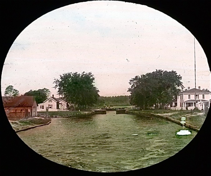 View from the Violet's stern of the Great Bridge Lock, Albemarle & Chesapeake Canal. Image by Albert Ross, USN. Courtesy, Linda Garey