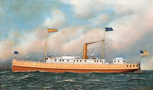 Oil painting of the 719-ton screw steamer Manteo, by Antonio Jacobsen, 1902. The Manteo was built at the yard of Pusey & Jones in Wilmington, Del., in 1887 and carried passengers and freight mainly on the Eastern Seaboard of the U.S.
