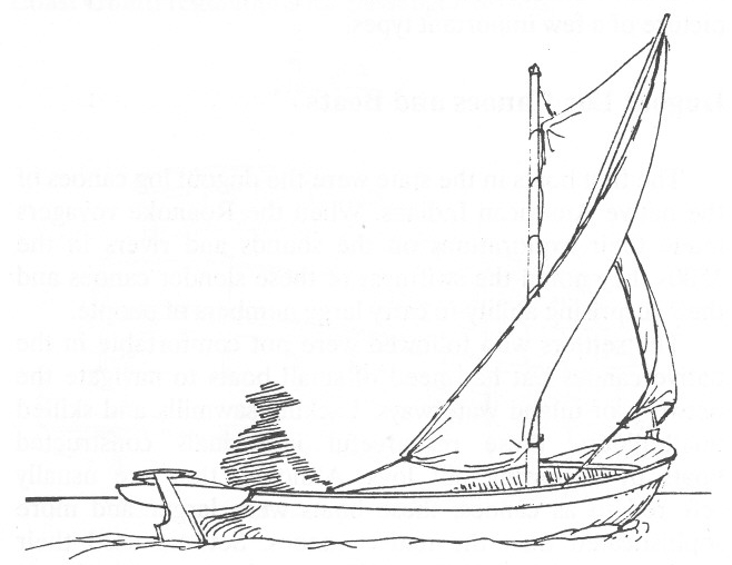 "Drawing of a kunner by Mike Alford. From Alford, Traditional Workboats of North Carolina"" (NC Maritime Museum, 2004). In that book, he observed, ""In the 18th and 19th centuries, kunners, made of a log, or logs, had the same function as shove boats and sail skiffs in later times."" The kunner in this drawing is considerably smaller than the Pilot Shad. For more on kunners and their history, check out Mike Alford and my story ""The Boat We Had Before Skiffs"" elsewhere on this blog."