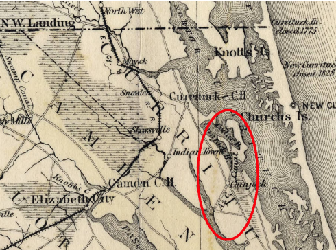 "Red oval marks the village of Coinjock and the A&C Canal's North Carolina Cut. Detail from Kerr and Cain, ""Map of North Carolina"" (1882). Highlighting from virginiaplaces.org. Original map courtesy, State Archives of North Carolina"