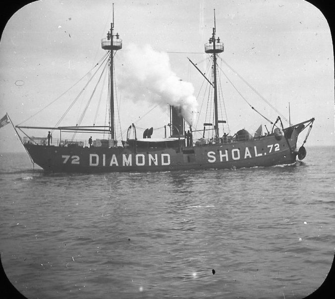 The lightship Diamond Shoals 72 in waters off Cape Hatteras, N.C., ca. 1900. Image by Albert Ross, USN. Courtesy, Linda Garey