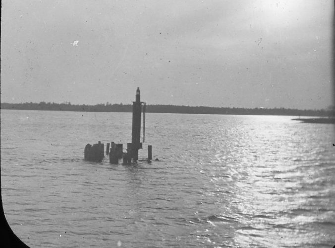 Gas channel marker, Albemarle & Chesapeake Canal (probably Currituck Sound), ca. 1900. Image by Albert Ross, USN. Courtesy, Linda Garey