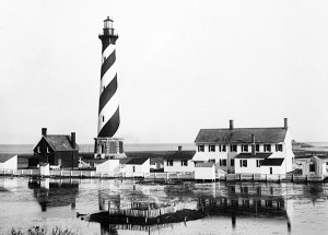 Another view of the Cape Hatteras Lighthouse and keeper's quarters, this time surrounded by floodwaters. This was probably soon after the San Ciricao hurricane in August 1899. Image by Albert Ross, USN. Courtesy, Linda Garey