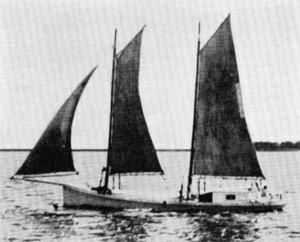 A sharpie, probably similar to the Maud, under sail. From Howard Chapelle, <em>American Small Sailing Craft</em> (1951). I don't know for sure, but the Maud may be the damaged vessel Maud that the lifesaving crew at the Pea Island Life-Saving Station found abandoned in the surf on May 3, 1896. Station records indicate that the station's surfmen turned the Maud over to the wreck commissioner, who sold her two weeks later, but do not list the buyer.
