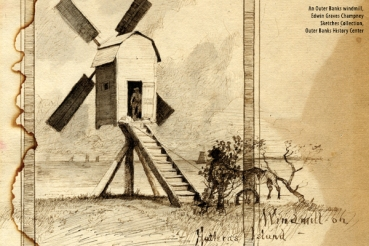 A post windmill on Hatteras Island during the Civil War. Kinnakeet, on Hatteras Island, was the site of a windmill as early as 1723, one of the earliest windmills on the N.C. coast. From the Edward Graves Champney Sketches Collection, Outer Banks History Center
