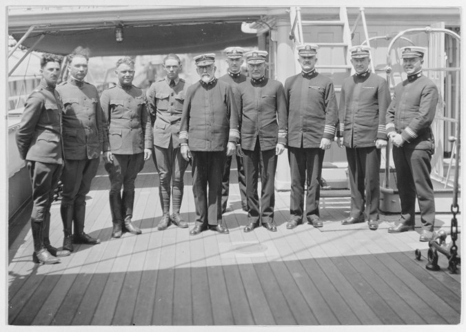 Rear Admiral Albert Ross (5th from left) was still serving in the U.S. Navy two decades after his visit to the North Carolina coast. Here he is standing with officers of the USS Intrepid at the Mare Island Navy Yard in California in 1919. Courtesy, U.S. Naval History and Heritage Command