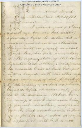 "Letter from Sgt. Horace White to ""Anna,"" Feb. 24, 1863, Belle Meade, Va. Courtesy, Marine Historical Society"