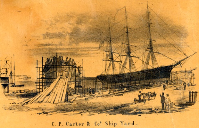 Drawing of the C. P. Carter & Co. Shipyard, Belfast, Maine by E. M. Woodford (1855). Courtesy, Penobscot Marine Museum