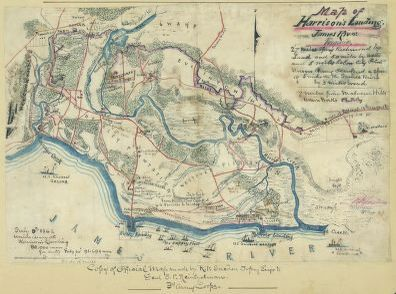 Map of Harrison's Landing, on the James River in Virginia, showing camps of the U.S. Army of the Potomac after the Seven Days' Battles, June 25 - July 1, 1862. Courtesy, Library of Congress