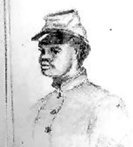 Large numbers of enslaved people from the north side of Albemarle Sound escaped to Union lines during the Civil War. Many, including Sgt. Frank Roberts (pictured here), joined the Union army. Detail of drawing from the Fred W. Smith Sketch Book, Tryon Palace Historic Sites and Gardens, New Bern, N.C.