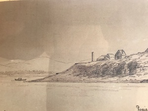 Drawing of Porgie Point, Mt. Desert Island, Maine. By Alexander Wadsworth Longfellow, Jr. (1854-1934). Courtesy, Great Harbor Maritime Museum