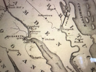"Map showing some of the principal sites mentioned in Brief Life of Rev. L. R. Ferebee, including Coinjock, Shiloh and Elizabeth City. Indian Ridge, where his mother Chloe was enslaved, is located northwest of Coinjock. Detail of ""Dismal Swamp Canal connecting Chesapeake Bay with Currituck, Albemarle and Pamlico Sounds and their tributary streams"" (D. S. Walton, 1867). Courtesy, North Carolina Collection, UNC-Chapel Hill Library"