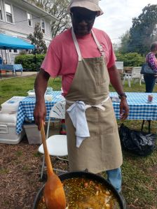 Ricky Moore stirring his fish stew at our Stagville Historic Site fundraiser last spring. He's got Harlowe roots, too, so you know that stew was good. Photo by David Cecelski