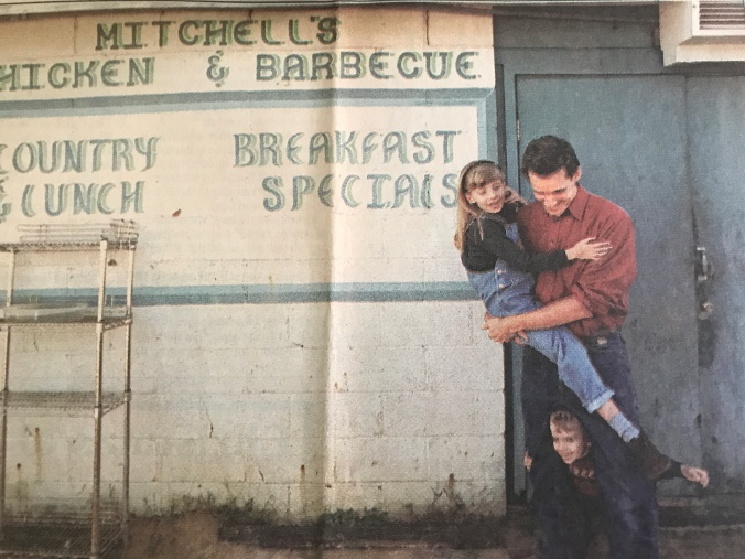 "Guy, Vera and I at Ed ""Mitch"" Mitchell's BBQ in Wilson, N.C. Photo by Candice C. Cusic. Courtesy, News & Observer"