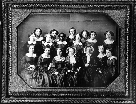 Women graduates of Oberlin College, class of 1855. Ann N. Hazle, daughter of a free African American baker and blacksmith in New Bern, is third from the left on the middle row. Courtesy, Oberlin College Archives