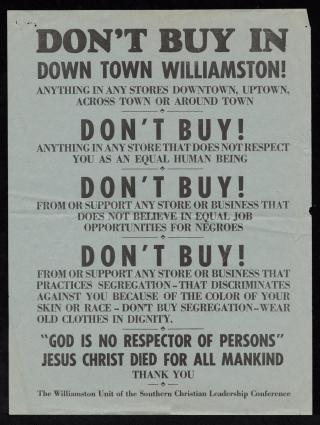 Poster supporting economic boycott of Williamston's downtown businesses that discriminated against black customers. Courtesy, East Carolina University Digital Collections