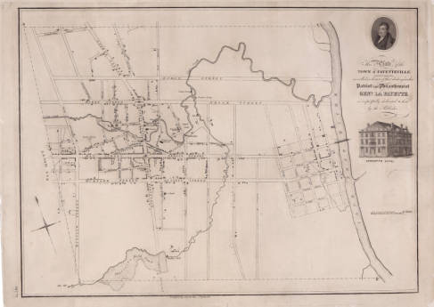 Plate of the town of Fayetteville, N.C. (Fayetteville: John MacRae, ca. 1825). The Cape Fear River is on the righthand side of the map, and the town sits on Cross Creek, which you can see flows into the river. Matthew Leary's saddle and harness shop was located on one of the town's main street corners. Courtesy, North Carolina Collection, UNC-Chapel Hill
