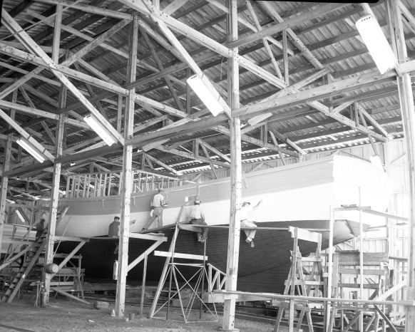 A shrimp trawler under construction, Morehead City Shipbuilding Corp., 1950s. Courtesy, North Carolina Maritime Museum