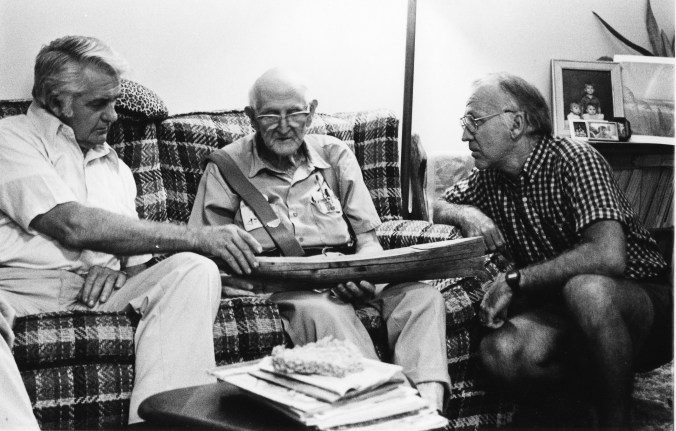 Mike Alford talking with shad boat builder Worden Dough (center) and H. A. Creef, Jr. (left), the great-grandson of George Washington Creef, ca. 1980. Manteo, N.C. Photo by Earl Willis, Jr. Courtesy, Mike Alford