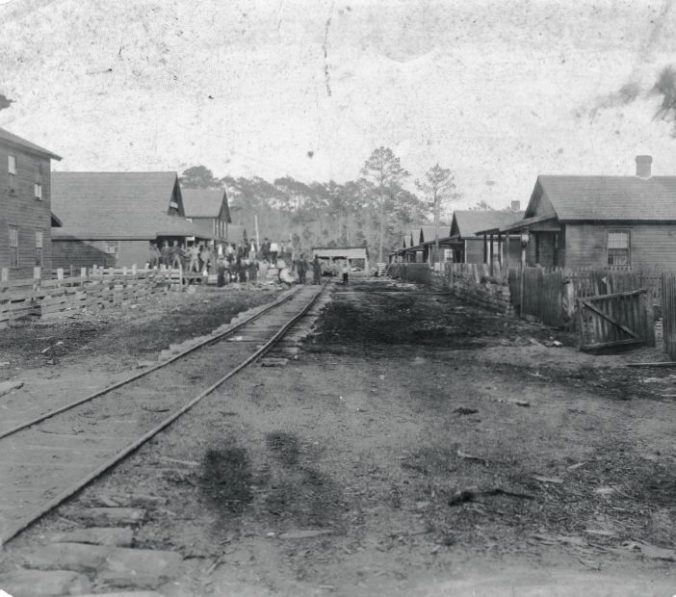 The main street of Buffalo City, N.C. Named for the Buffalo (N.Y.) Timber Co., the boomtown sprung up almost overnight south of East lake. Courtesy, the Outer Banks History Center.