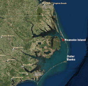 View of Roanoke Island in relation to the Outer Banks and the mainland of NE N.C. Source: ESRI, ArcGIS Online