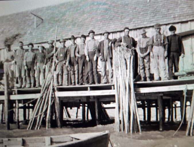 Fishermen and pound net stakes at the Baum Slough Fish Camp, Roanoke Island ca. 1905. Photo by H. H. Brimley. Provided by Earl Willis, Jr.