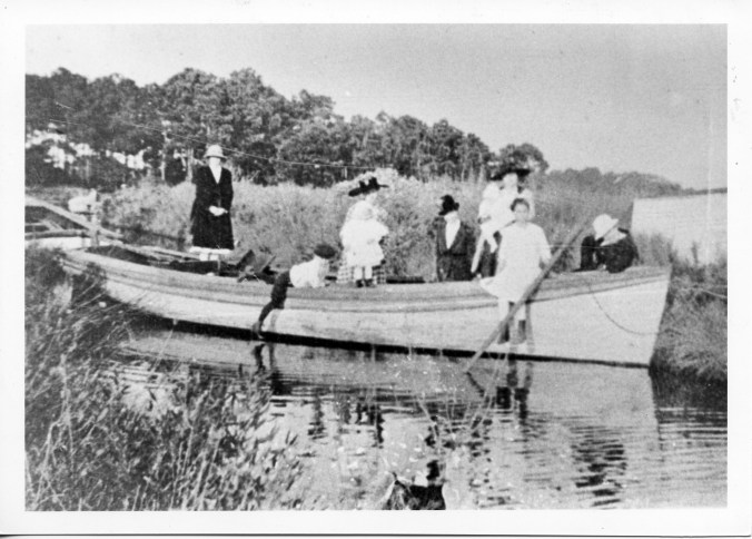 The shad boat Hobo bound for a Sunday afternoon excursion. Courtesy, State Archives of North Carolina