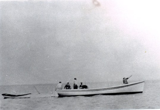 One of the big shad boats that the Doughs built for the hunting club on Currituck Sound ca. 1930. Courtesy, State Archives of North Carolina