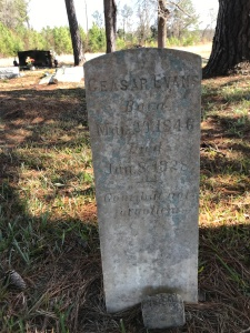 Caesar Evans gravemarker, Evans Family Cemetery, Bolivia, N.C. Photo by David Cecelski