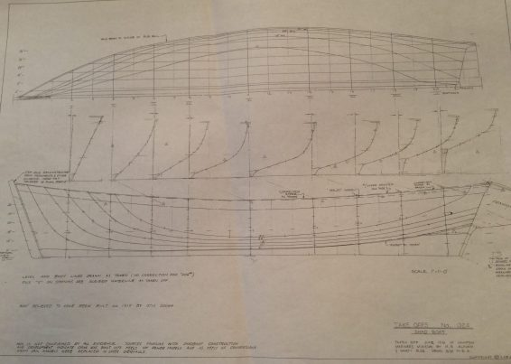 Delineation drawing of a shad boat. Taken off June 1981 at N.C. Maritime Museum by Mike Alford and Marty Blee. Drawn Aug. 1981 by Mike Alford.
