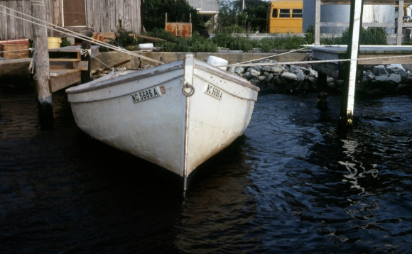 Hatteras Island photographer Mike Halminski took this photograph of local fisherman Mike Peele's shad boat in 1982. He was still using the boat for commercial fishing then, and it may be the last shad boat still in operation today. Photo by Mike Halminski
