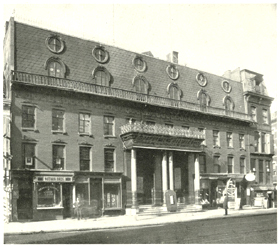 Wood's Minstrel Hall, 515 Broadway, NYC. Originally a Jewish synagogue, the building was turned into a theater in 1862 and became known for its minstrel and burlesque acts. It eventually housed the Theatre Comique, where the Wilmington Jubilee Singers performed early in 1876. From The Hatching Cat