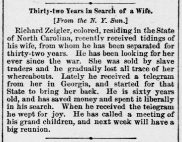 National Tribune (Washington, DC), 22 Feb. 1883 (copied from New York Sun)