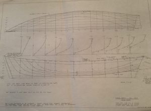 Full view of one of Mike's delineation drawings. Shad boat built by Otis Dough ca. 1915 and found in Stumpy Point. Taken off June 1981 at N.C. Maritime Museum by Mike Alford and Marty Blee. Drawn Aug. 1981.