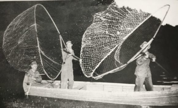 Bow nets on the Roanoke River probably in the 1950s. Courtesy, Jack Dudley