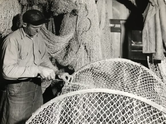 Net house on the Roanoke River, ca. 1950. This may be at the Ben Everett fish camp. Courtesy, Jack Dudley