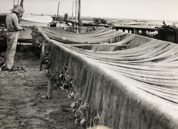 Working on a purse seine, Southport, N.C., ca. 1940s-50s. Photo by Bayard Wooten. Courtesy, North Carolina Collection, UNC-Chapel Hill Library