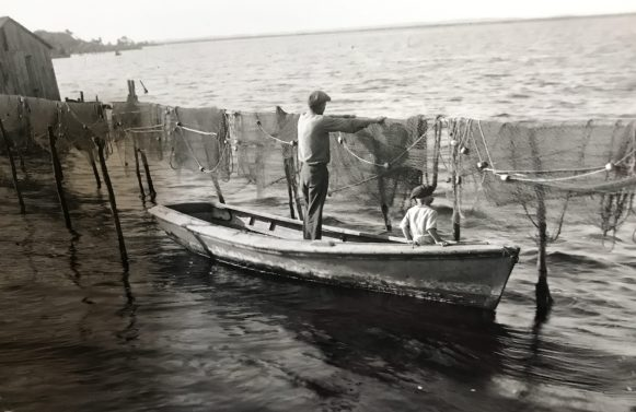 Father and son drying gill nets ca. 1948, place unknown. Photo by Bayard Wooten. Courtesy, N.C. Collection, UNC-Chapel Hill Library